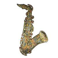 Handmade Metal Wall Art Painted 13 inch Saxophone (Haiti)