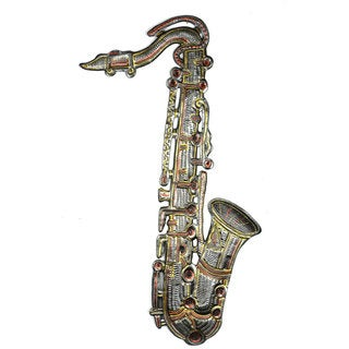 Handmade Metal Wall Art Painted 22 inch Saxophone (Haiti)