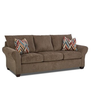 Made to Order Cedar Creek Sofa in Chunky Otter w/ Pillows in Showtime Santa fe