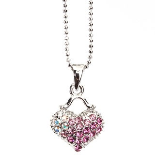 Pink Heart Crystal Silvertone Ball Chain Pendant Necklace (Thailand)