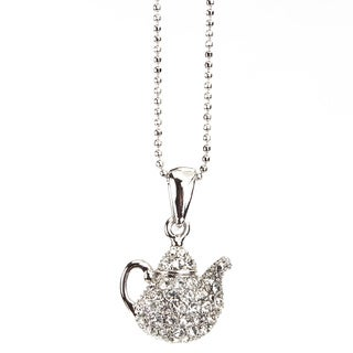 Tea Time Crystal Silvertone Ball Chain Pendant Necklace (Thailand)
