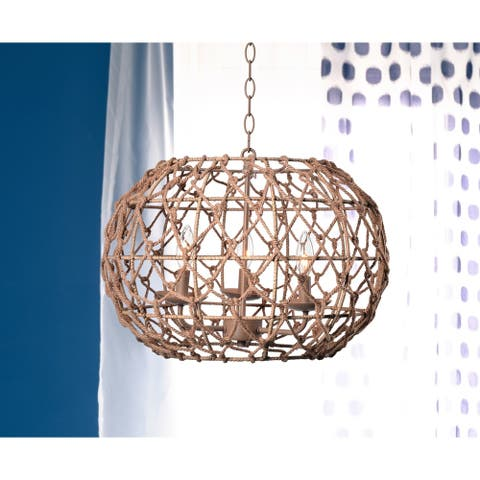Elle Natural Rope 3 Light Chandelier