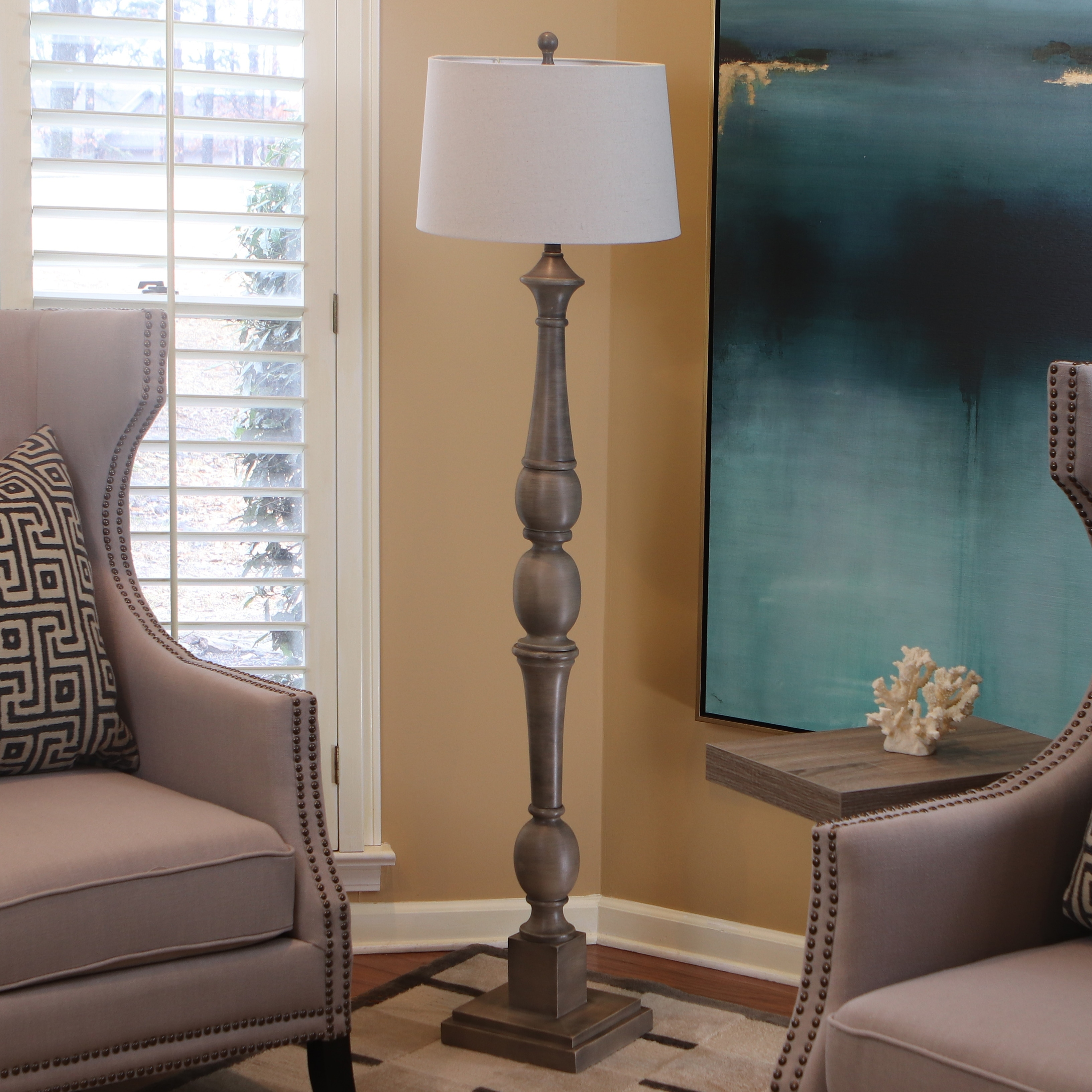 Decor Therapy Distressed Baluster Grey Floor Lamp (Warm G...