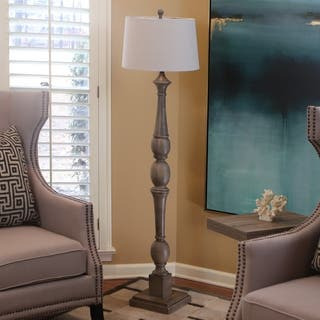 Buy grey floor lamps online at overstock our best lighting deals decor therapy distressed baluster grey floor lamp aloadofball Choice Image