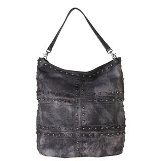 Diophy Grey and Brown Leather Vintage-dye Gradient Studded Hobo Handbag
