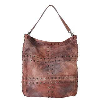 Diophy Grey and Brown Leather Vintage-dye Gradient Studded Hobo Handbag
