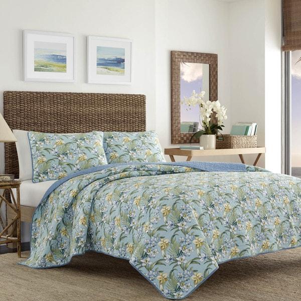 Tommy Bahama Julie Cay Soft Blue Cotton Quilt Set