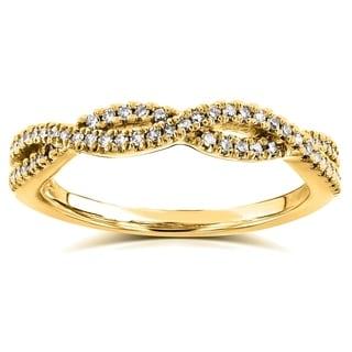 Annello by Kobelli 14k Yellow Gold 1/6ct TDW Diamond Braided Wedding Band (H-I, I1-I2)