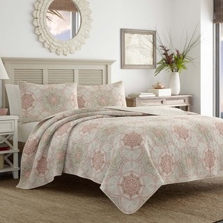 Tommy Bahama Palm Channel Coral Medallion Print Cotton Quilt Set