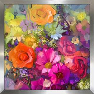 """""""Floral Frenzy"""" Framed Plexiglass Wall Art"""