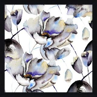 """Blossoming Blues"" Framed Plexiglass Wall Art"