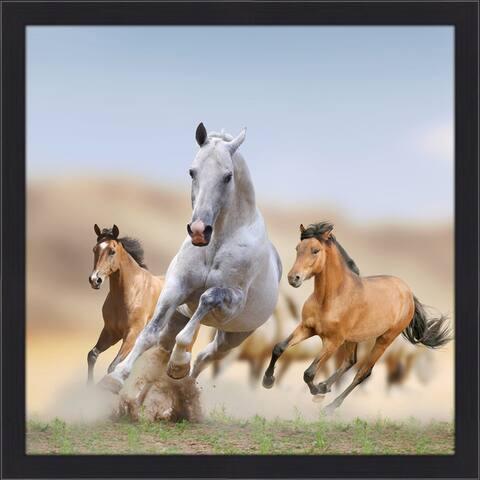 """Stallions"" Framed Plexiglass Wall Art"