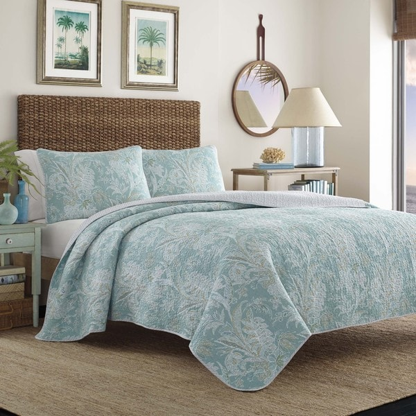 Shop Tommy Bahama Tiki Bay Blue Cotton Quilt Set On Sale
