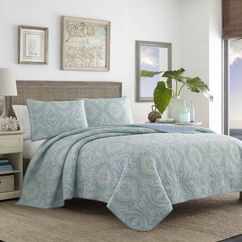 Tommy Bahama Turtle Cove Blue Cotton Quilt Set