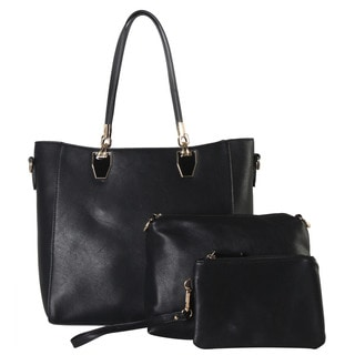 Diophy Black and Grey Faux Leather 3-piece Large Tote Set