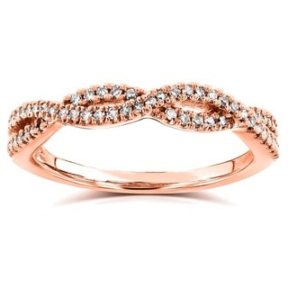 Annello by Kobelli 14k Rose Gold 1/6ct TDW Diamond Braided Wedding Band (H-I, I1-I2)