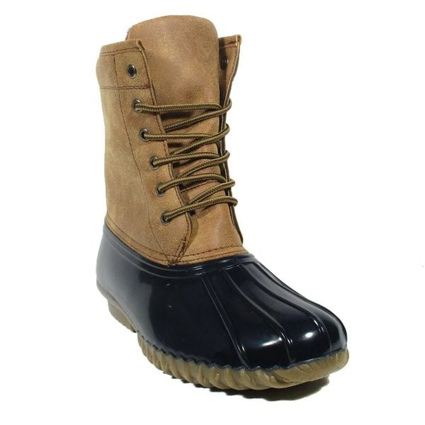 Blue Women's 'Huey Rock' Synthetic Leather Flat-heel Mid-calf Duck Boots -  Free Shipping On Orders Over $45 - Overstock.com - 20090030