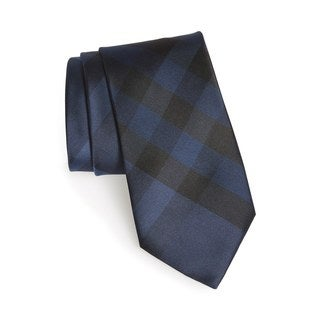 Burberry Blue Check Clinton Silk Neck Tie