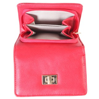 Diophy Faux Leather Turn Lock Trifold Wallet
