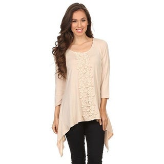 Women's Textured Beige Cotton and Polyester Relaxed Top