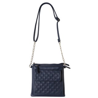 Diophy Faux-leather Quilted Front-pocket Crossbody Handbag
