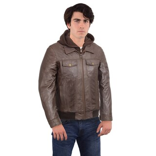 Black Rivet Men's Brown Leather Hooded Bomber Jacket