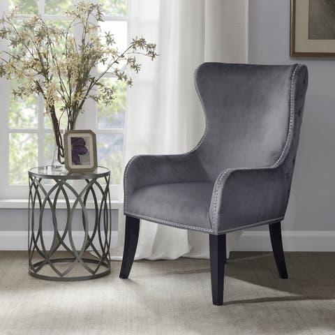 """Madison Park Irvine Button Tufted Back Accent Chair 2-Color Option - 27""""w x 32""""d x 41.75""""h"""