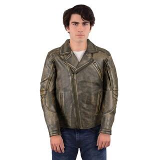Men's Leather Triple-stitch Biker Jacket