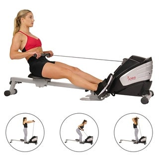Sunny Health & Fitness SF-RW5622 Dual Function Magnetic Rowing Machine Rower with LCD Monitor - Black