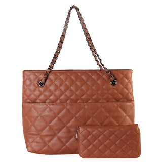 Diophy Faux Leather Quilted Pattern 2-piece Tote Handbag