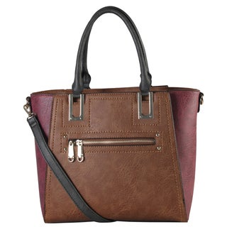 Diophy Two-tone Front Zipper Double Handle Tote Handbag