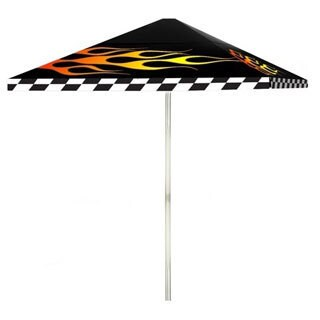 8-foot Racing Flames Patio Square Umbrella by Best of Times