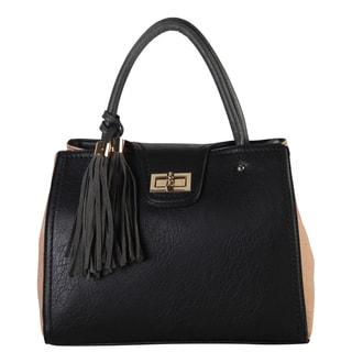 Diophy Two-tone Lock Closure and Tassels Tote Handbag
