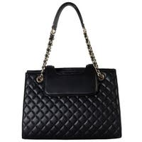 Rimen and Co. Black Faux Leather Large Quilted Tote Handbag