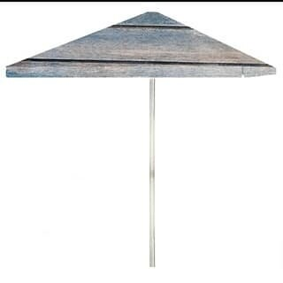 8-foot Blue Wood Horizontal Patio Square Umbrella by Best of Times