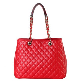 Rimen Co. Faux Leather Quilted Multispaced Large Tote Handbag