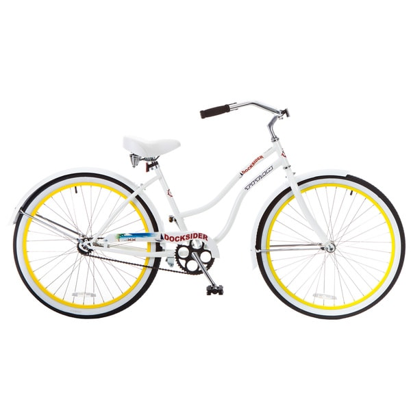 Docksider Women's White Beach Cruiser Bicycle With (26 in.)