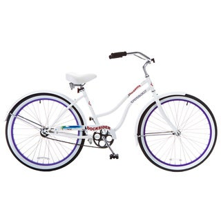 Docksider Women's White and Lavender Beach Cruiser Bicycle (26 in.)