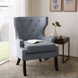 Madison Park Kyle Blue Tufted Wing Chair