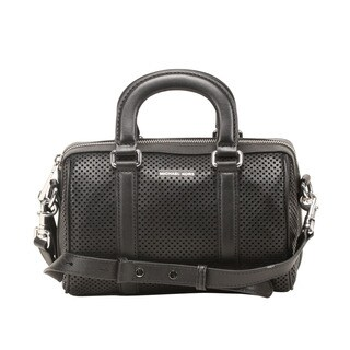 Michael Kors Libby Small Black Perforated Leather Satchel Handbag