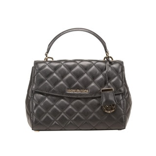 Michael Kors Ava Small Quilted Leather Black Satchel Handbag