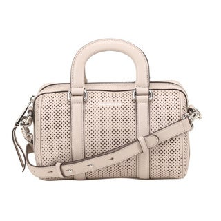 Michael Kors Libby Small Perforated Leather Cement Satchel Handbag