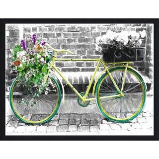 """Vintage Bike"" Framed Plexiglass Wall Art - Green"