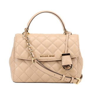 Michael Kors Ava Small Quilted Leather Bisque Satchel Handbag