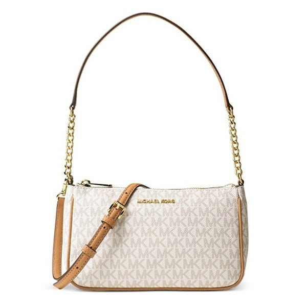 d6f10b38dbcc19 Shop Michael Kors Bedford Vanilla/ Acorn Medium Pouchette Crossbody ...