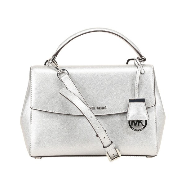 c0a88b778183 Shop Michael Kors Ava Small Saffiano Leather Silver Satchel - Free ...
