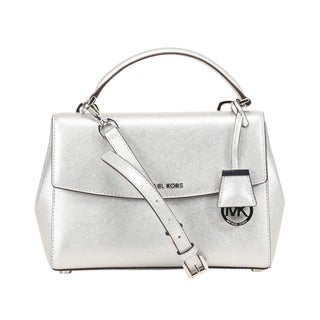 Michael Kors Ava Small Saffiano Leather Silver Satchel
