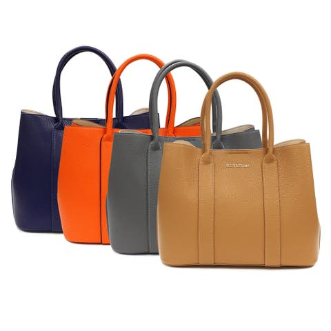 Suzy L. Pebbled Faux Leather Satchel Handbag