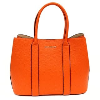 Suzy Levian Pebbled Faux Leather Satchel Handbag