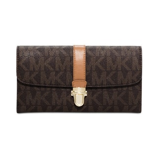 Michael Kors Charlton Brown PVC Flap Wallet